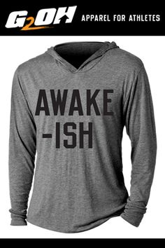Awake-ish Tri-Blend Hoodie T-Shirt by Men's and women's sizes available. Check out our full catalog for tons of t-shirts and gear. Vinyl Shirts, Mom Shirts, Cute Shirts, Funny Shirts, Funny Shirt Sayings, Shirts With Sayings, Funny Outfits, Cool Outfits, Personalized T Shirts
