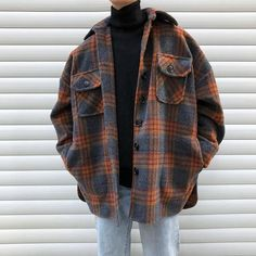 Winter Wollmantel Männer Warmer Mantel Mode Retro Hit Farbe Tartan Wolljacke Herren Streetwear Loose Long Woolen Jacket Man Source by oyamaaneaki clothes Vintage Outfits, Retro Outfits, Casual Outfits, Soft Grunge Outfits, Plaid Shirt Outfits, 90s Style Outfits, Easy Outfits, Overalls Outfit, Unique Outfits