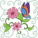 "This free embroidery design is called ""Flowers & Butterflies 2″"