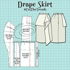 Sewing Skirts This is a great place to start for your drape pattern making journey. Dress Making Patterns, Skirt Patterns Sewing, Clothing Patterns, Pencil Skirt Patterns, Coat Patterns, Pencil Skirts, Blouse Patterns, Sewing Dress, Sewing Clothes