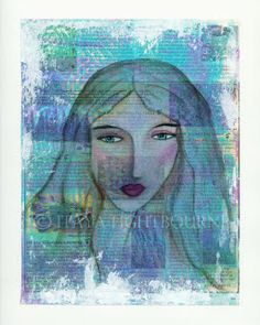 Itaya Art: Gelli Print Background and 'Lady Violet', Mixed Media Abstract Painting Face Collage, Collage Art Mixed Media, Art Journal Pages, Art Journals, Lady Violet, Gelli Plate Printing, Gelli Arts, Abstract Faces, Types Of Art