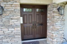 New double doors with privacy and safety in mind. Entry Doors With Glass, Glass Door, Privacy Glass, Double Doors, Safety, Garage Doors, Old Things, Windows, Interior