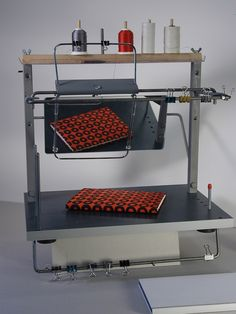Bookbinding Sewing frame,1996, in production, Planetary Collage Scout model.©Timothy C. Ely