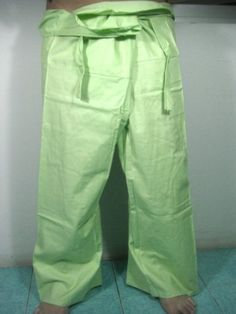 "Thai Fisherman Pants 100% Light Cotton - Free Size - Green Color (Thai Chaolay Pants) by Thai Chaolay Pants. $19.00. For Everybody - Green Color Size : about 50"" around the waist and total length is about 39"" Product of Thailand"