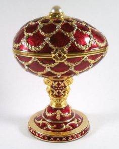 Red with Gold Lattice Faberge Style Egg by relictreasures