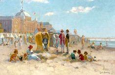 Lodewijk 'Louis' Soonius (1883-1956) Een zonnige dag op het strand van Scheveningen met op de achtergrond het Kurhaus en het Wandelhoofd Wilhelmina. (Coll. Christies.com)