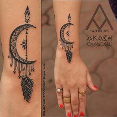 Fresh from the Web Awesome moon and arrow dotwork tattoo by @the_inkmann Hope u guys like this too That's Insane !Custom calligraphy by Akash Chandani Tattoo by -Naina Jain Your Views,Comments and...