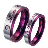 Brand New Titanium Stainless Steel Promise Ring Love Couple Wedding Bands Engagement Purple Gift