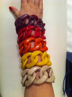 Chain link bracelets, made in Italy. Designed by Angela Caputi.