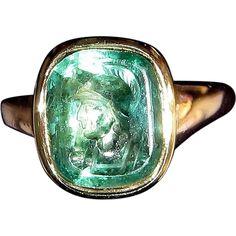 Emerald Centurions Intaglio Signet Seal Ring 15K