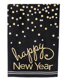 9'' Black & Gold 'Happy New Year' Burlap Outdoor Flag #zulily #zulilyfinds