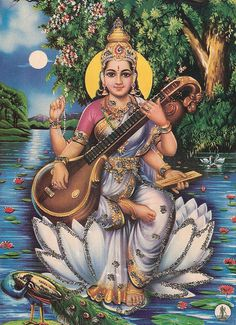 """Saraswati: Om Eim Saraswatiyei Swaha Invocation for power and strength. The mother of Vedas, Saraswati is the goddess of knowledge, music, and the arts. She once stood as the River Goddess. """"The flow of the knowledge is alluring, like a beautiful woman. Indian Gods, Indian Art, Saraswati Picture, Sacred Feminine, Hindu Deities, Hindu Art, Gods And Goddesses, Archetypes, Religious Art"""