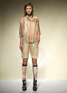 Music Stripe Combo Top/ Top with Chiffon Border/ Light Wall Ramie Shorts