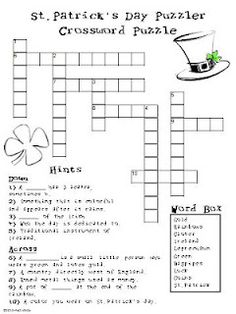 st patricks day puzzles for kids crossword word search st