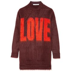 Givenchy Intarsia sweater in burgundy mohair-blend found on Polyvore featuring tops, sweaters, dresses, givenchy sweater, givenchy, red top, red sweater and givenchy top