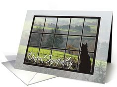 Cat Silhouette Looking Out Window at Landscape-Sympathy Greeting Card. Thank you customer in Washington!