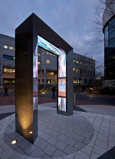 Northeastern University Tribute Portal by Selbert Perkins Design –– designed with amazing technology to withstand Northeastern weather Wayfinding Signage, Signage Design, Booth Design, Banner Design, Environmental Graphic Design, Environmental Graphics, Neon Led, Digital Retail, Kairo
