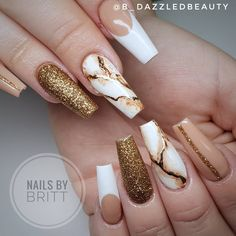 The Best Coffin Nails Ideas That Suit Everyone - - Gorgeous coffin shaped nails design for inspiration, consists of nude nails with gold glitter, French nail, and marble nails! Coffin Shape Nails, Coffin Nails Long, Gorgeous Nails, Pretty Nails, Gold Nails, Marble Nails, Gold Glitter, Gold Wedding Nails, Nude Nails With Glitter