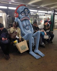 The monsters inside: Instagram illustrator lets his imagination loose on the New York Subway...