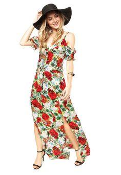 Vestido Areia e Mel Floral Multicolorido bd279f9306