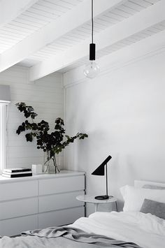 white furniture The bedroom upholds the simple, monochrome aesthetic, with black accents complementing white paint and furniture White Bedroom, Minimal Bedroom, Bedroom Interior, Home, White Furniture, Bedroom Inspirations, Aesthetic Bedroom, Home Decor, Monochrome Bedroom