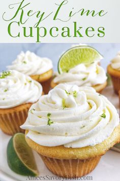 These Key Lime Cupcakes are a light buttery cupcake with key lime filling topped with a rich and delicious key lime buttercream frosting. Key Lime Desserts, Easy No Bake Desserts, Cheesecake Desserts, Healthy Dessert Recipes, Cupcake Recipes, Delicious Desserts, Cupcake Cakes, Snack Recipes, Awesome Desserts