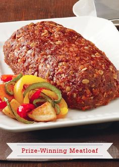 This Prize-Winning Meatloaf made with Quaker® oats is a delightfully moist and savory weeknight dinner recipe to serve your family! recipe with oats Prize-Winning Meatloaf Recipe Ground Beef Recipes, Turkey Recipes, Meat Recipes, Dinner Recipes, Cooking Recipes, Healthy Recipes, Healthy Meals, Dinner Ideas