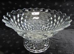 "Vintage FOSTORIA Glass ""AMERICAN"" pattern PEDESTAL TOM & JERRY PUNCH BOWL 12.5""D x 7.5""H"