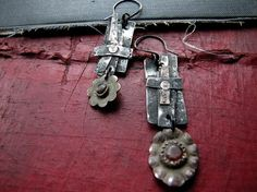 slave to springtime  rustic floral earrings by nusquam on Etsy, $32.00