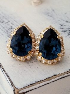 Blue crystal earrings | swarovski earrings | montana blue teadrop earrings | navy blue wedding | something blue | Navy Blue Crystal earrings Swarovski stud by EldorTinaJewelry | http://etsy.me/1gXW3s3