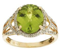 QVC Premier 4ct Peridot & 0.25ctw Diamond Ring - 14K Gold