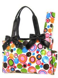 Retro Circles Tote Purse Diaper Bag W Changing Pad Black Trim Pink Multi Color