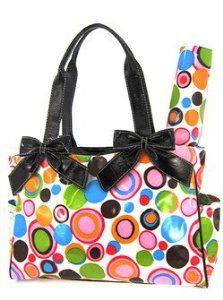 Cute! Retro Circles Tote Purse Diaper Bag w/ Changing Pad Black Trim Pink Multi Color,$38.99