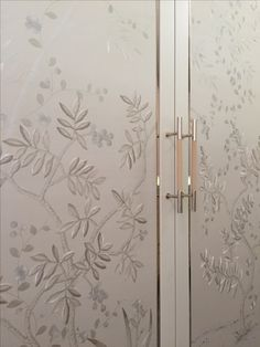 Master dressing room wardrobe detail. Embroidered silk panels by Fromental