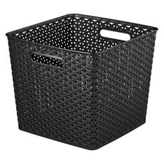 Room Essentials Yweave XL Square Storage Baskets Black Set of 4.Opens in a new window