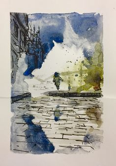 Dramatic city - Exploding fire hydrants, running child #illustration #watercolor #cityscape #war