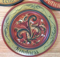 5 beautiful wood Norwegian Rosemaling plates with virtues - Marlys Hammer | eBay