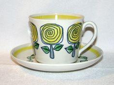 Gefle, modell EA, Rosamunda, 1964 Coffee Cups, Tea Cups, Kitchenware, Tableware, Vintage Pottery, Porcelain Ceramics, Tea Cup Saucer, Colorful Interiors, Tea Party