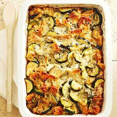 "Four-Cheese Zucchini Strata Strata simply means ""layers."" This dish features luscious layers of garlic focaccia, sauteed zucchini, and four wonderful cheeses."