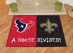 Houston Texans-New Orleans Saints House Divided Rugs