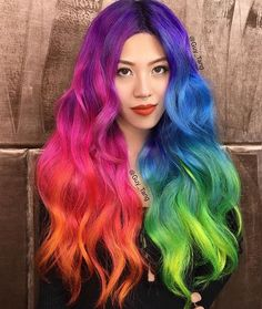 Neon Rainbow Hair by Guy Tang - Colorful party outfits, raver girl, gay pri. - - Neon Rainbow Hair by Guy Tang - Colorful party outfits, raver girl, gay pri. Men Hair Color, Cool Hair Color, Hair Colors, 80s Party Outfits, Neon Outfits, Rave Outfits, Dyed Hair Pastel, Multicolored Hair, Colored Hair