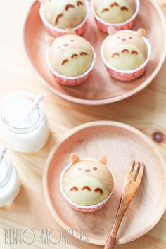 bento monster cupcakes w/o frosting Cute Food, Yummy Food, Steamed Cake, Japanese Sweets, Japanese Food, Cute Desserts, Food Humor, Aesthetic Food, Creative Food