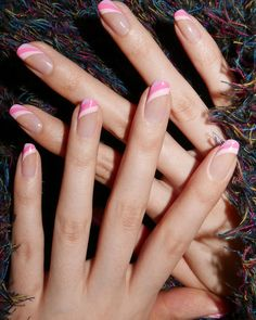 Pink and lilac swoops using @sally_hansen for @cosmopolitan