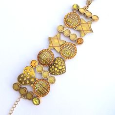 "HP NWT Pilgrim Yellow Bracelet Fun gold and yellow shapes with rhinestones. 1.5"" adjustable extender 1.5"" wide and 6"" long. Discount with bundle. Pilgrim Jewelry Bracelets"