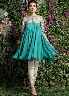 """Indian Fashion - """"Enchanted Forest"""" by Shyamal and Bhumika. Pakistani Dresses Casual, Indian Dresses, Indian Outfits, Indian Attire, Frock Fashion, Fashion Dresses, 90s Fashion, Stylish Dresses, Casual Dresses"""