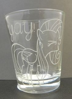 Fluttershy YAY Etched Shot Glass by Toyponystudios on Etsy, $8.50