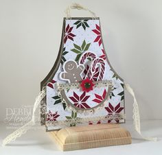 Merry Monday Challenge #184 using Stampin' Up! Sensational Season stamp set & Holiday Collection Framelits Dies. Apron card pattern included. Debbie Henderson, Debbie's Designs.