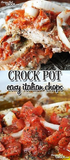 Easy Crock Pot Italian Chops - Recipes That Crock! These Easy Crock Pot Italian Chops are flavorful and super easy to throw together! Crock Pot Slow Cooker, Crock Pot Cooking, Slow Cooker Recipes, Crockpot Recipes, Cooking Recipes, Crockpot Dishes, Cooking Ideas, Tortellini, Italian Recipes