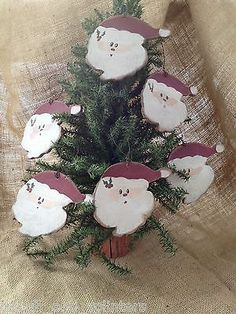 6 Primitive Hand Crafted Country Santa Claus Christmas Hanging Wood Ornaments