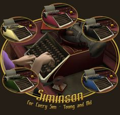 The most up-to-date, lightweight, portable typewriter with standard keyboard. The keystroke is practically a glide, and no other typewriter has a competitive crispness to the letter! The Sims 4 Pc, Sims Cc, Sims 4 Decades Challenge, Sims Medieval, Sims 4 Cc Furniture, Modern Furniture, Furniture Design, Portable Typewriter, Vintage Luggage